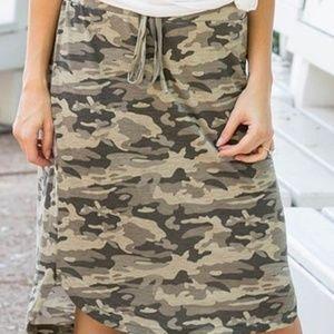 New Green Camo Side-Slit Drawstring Skirt